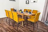 Wooden Nature Esstisch-Set ausziehbar 228 inkl. 8 Stühle (gelb), Buche Massivholz - 110-190 x 70 (L x B)