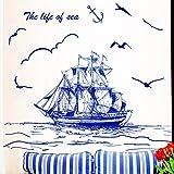 Hllhpc Dunkelblaue Farbe Segelboot Vögel Wandaufkleber Pvc Material Diy Wandkunst Für Wohnzimmer Sofa Hintergrund Dekoration 45 * 60 Cm