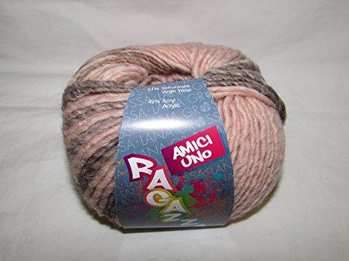 Lana Grossa Ragazza Amici Uno freie Farbwahl Wolle für Mütze Schal & Co (309 - Rosa - Grau - Braun)