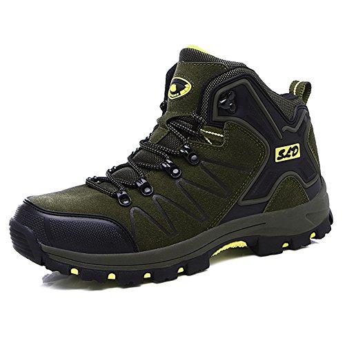 Gomnear Uomini Stivali da escursionismo Donne Scarpe Trekking Unisex Alta Rise Non scivolare All'aperto arrampicata Scarpe da ginnastica Army Green