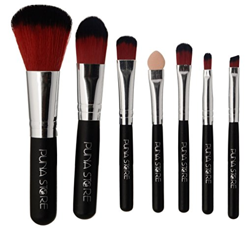 Puna Store Make up Brush Set, Black, 7 Pieces