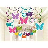 Spring Butterfly Party Hanging Swirl Decorations 30pkg