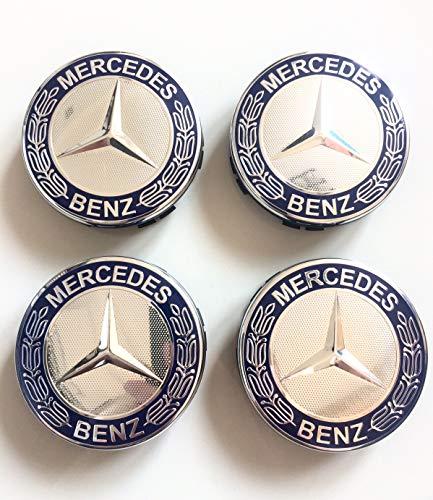 Felgendeckel Mercedes Benz 4 x 75mm Nabendeckel Radnabenkappen Felgenkappen Nabenkappen Blau Wheel Caps