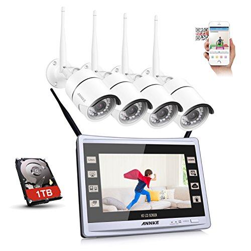 ANNKE Überwachungskamera Set mit Monitor, 1080P 4CH 11 Zoll Funk Videoüberwachung Monitor NVR Recorder mit 1TB Überwachung Festplatte + 4 * 960P IP Überwachungskameras für Innen und Außen