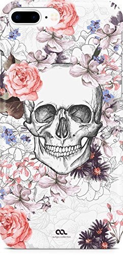 Autiga Moonworks® iPhone 8 Plus Hülle Flower Skull Totenkopf Blumen Boho Schädel Handyhülle Handy Case Hardcover Schutzhülle Hardcase Moonworks® weiß