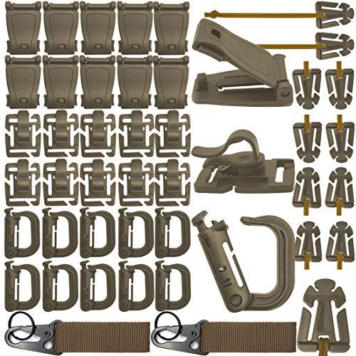 42 STÜCKE Clip Geschwindigkeit Taktische Molle Strap Attachments Für Rucksack Taktische Weste Molle Keychain D-ring Verriegelungsrohr Wasser Clip Web Dominator Schnalle Mit Elastische Kette (Braun) -