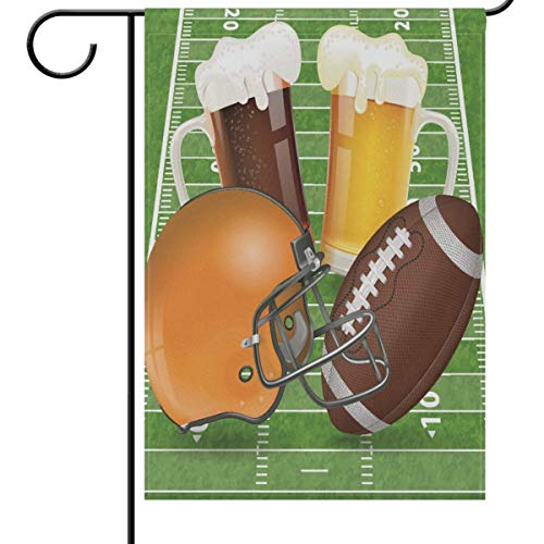fdgjfghjdfj Fall and Football Garden Flag 12 x 18, American Football Helmet Field Glasses of Beer Funny Sports Soccer Ball Double-Side House Yard Outdoor Flags Banner for Football Party Favor -