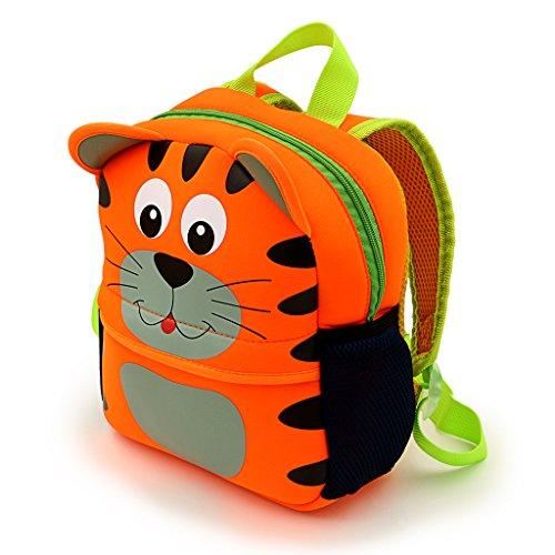 Ignpion - Bellissimo zainetto per bambini, motivo animale stile cartone animato in 3D, ideale per nido d'infanzia o scuola dell'infanzia, Tiger