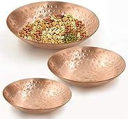 TAZBI Copper Hammered Serving Plate/Bowl for Snacks or Dry Fruits - Serveware, Dinnerware