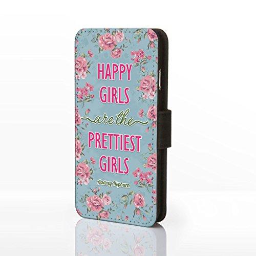 Schutzetui mit lustigem bekannten Zitat, Kunstleder, für iPhone, Kunstleder, 1. Happy Girls are the Prettiest - Audrey Hepburn, iPhone 5/5S 1. Happy Girls are the Prettiest - Audrey Hepburn