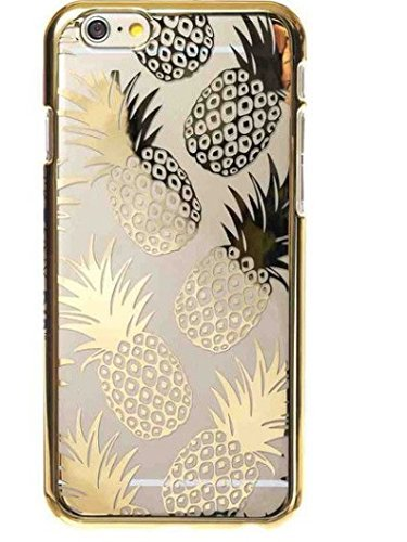 iPhone 6 Plus / 6S Plus, Colorful Rubber Flexible Silicone Case Bumper for Apple Clear Cover - Gold Shiny Pineapples Summer Happiness