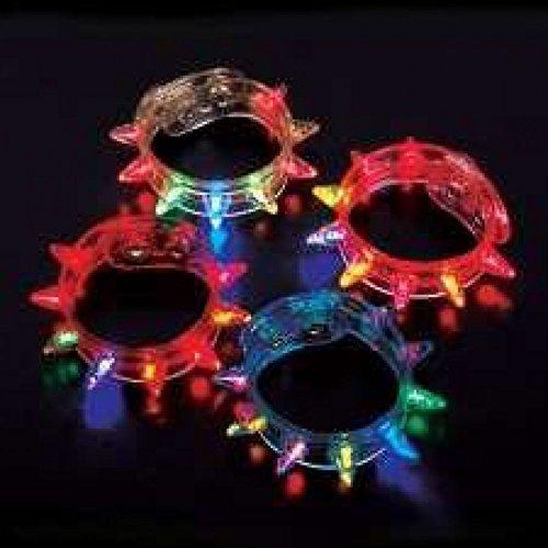 Flashing Spike Bracelets - 12 per unit by Rhode Island (Kostüm Island Rhode)