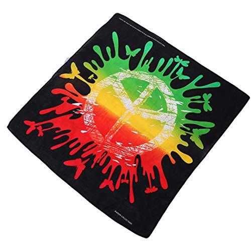 ruiruiNIE 55x55cm Unisex Graffiti Regenbogen farbige quadratische Bandana Peace Symbol Print Sport Hip Hop Headwrap Straße Radfahren Schal Armband -