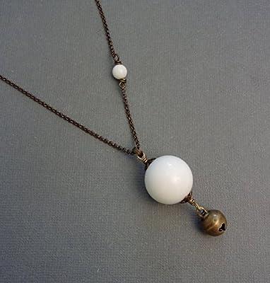 Bijoux de Grossesse - Sautoir Bola Ethnique - Pierres Naturelles, Agate Blanche