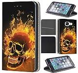 Samsung Galaxy Xcover 3 Hülle von CoverHeld Premium Flipcover Schutzhülle Xcover 3 aus Kunstleder Flip Case Motiv (1479 Totenkopf Skull Feuer)