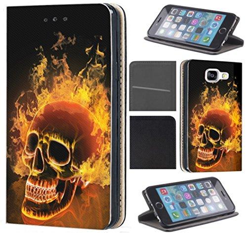 CF-Mobile Hülle für Samsung Galaxy A50 Handyhülle Flipcover Schutzhülle Coverfix Handycover Handy Case 1479 Totenkopf Skull Feuer Hülle für Samsung Galaxy A50
