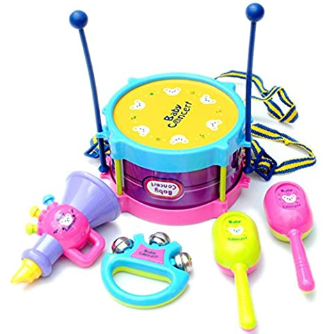 5pcs Kids Baby Roll Drum Musical Instruments Band Kit Children Toy (5pc, Colorful)