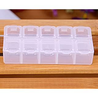 AsentechUK® 5Pcs Transparent Plastic 10 Grids Jewelry Storage Box Container Case Rings Organizer