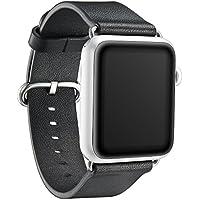 """KAVAJ Echtleder-Armband """"Barcelona"""" für Apple Watch Series 1,2 & 3 42 mm schwarz. Lederarmband aus echtem Leder als ideales Zubehör zur Apple Watch Series 1,2 & 3 für Damen und Herren"""
