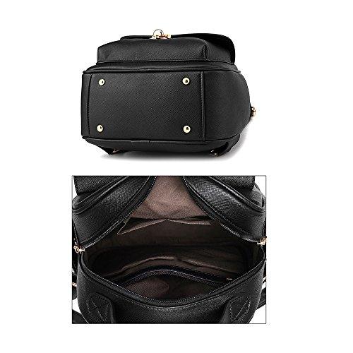 Frauen Mini Rucksack Phone Handtasche PU-Leder Reise Rücksack Mädchen Tagesrucksack Weiß-Schwarzer Rucksack Weißer Rucksack