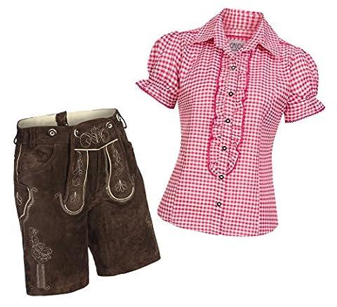 Damen Set Trachten Lederhose Shorts dunkelbraun kurz + Träger + Trachtenbluse Ronda 36 Rosa Weiß Kariert 36