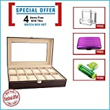 #9: New Qualified 12 Slots Wrist Watches Jewelry Display Storage Organizer Leather Box Case ( Festival Offer- 3 items FREE with this product)