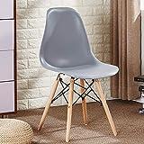 Lux Furn Chaise de salle à manger en plastique et bois de style moderne métro Blanc/Noir/Gris/Rouge/Jaune/Rose/Vert/Bleu Set of 2 gris