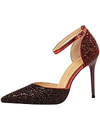 Xue Qiqi elegante color plata punta del alto talón zapatos y versátil con gradiente fino solo zapatos sandalias...