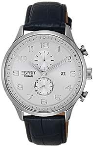 Esprit - ES105581002 - Cerritos - Montre Homme - Quartz Chronographe - Cadran Argent - Bracelet Cuir Noir