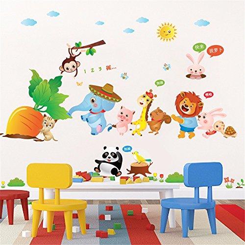 Bomeautify Wandtattoos Wandbilder Cartoon Kinderzimmer Schlafzimmer Dekoration Papier Nette Kindergarten Klassenzimmer Dekor Aufkleber Kleine Tiere Karotten, 60 * 90 CM -