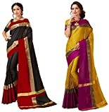 Art Decor Sarees Women's Cotton Silk Designer Saree With Blouse - Combo Of 2 Saree - Total 20 Colors Available