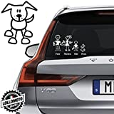Cane di Fronte Vetro Auto Famiglia StickersFamily Stickers Family Decal - Bianco Opa