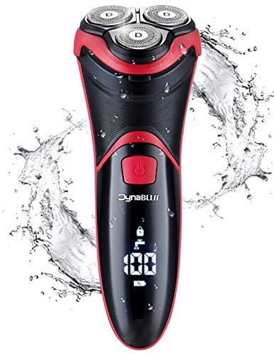 DynaBliss Rasoio Elettrico Uomo Barba Ricaricabile Wet & Dry Rasoi Elettrici a Testine Rotanti, Con rifinitore per barba e Display LCD