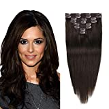 Clip In Remy Hair Extensions Dark Brown Real Human Hair Extensions Full Head