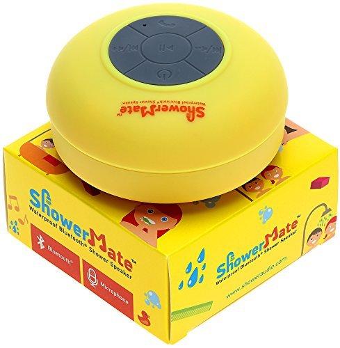 Showermate Wireless Bluetooth Lautsprecher | Wasserdichtes Duschradio mit Freisprecheinrichtung und eingebautem Mikrofon | Kompatibel mit allen Bluetooth Geräten – Gelb