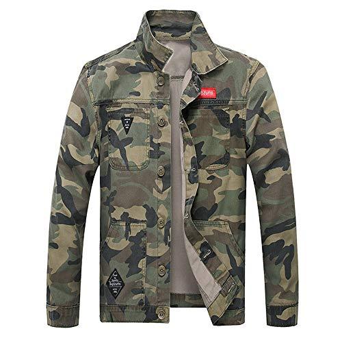 KPILP Herrenmode Herbst Winter Taste Einfarbig Vintage Jeansjacke Tops Bluse Mantel Outwear Langarm-Shirt(X4-armeegrün,XL)