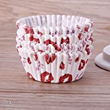 100 copas RUNGAO para hornear magdalenas, con diseño de flores. Envoltorio de magdalenas para bodas