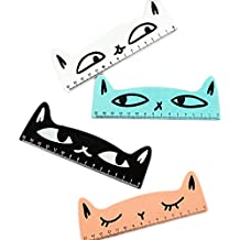 drawihi Holz Lineal Mess-Werkzeug Lineal Kätzchen Muster 4PCS für Kinder Studenten Büro