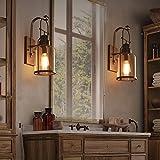 JiaYouJia Industrial Loft Rust Metal Lantern 1-Light Wall Sconce with Clear Glass
