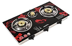Suraksha Shine Crystal 3 Burner Auto Gas Stove Cooktop, 14-inch(Red)