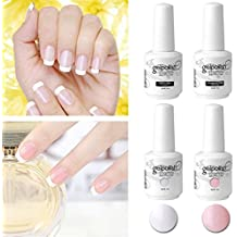 Elite99 Kit Manicura Francesa Uñas de Gel Polish Esmalte Semipermanente Color Gel + Top&Base Coat 4pcs Laca Soak Off Top Coat Base Coat UV LED Manicura Arte 15ml