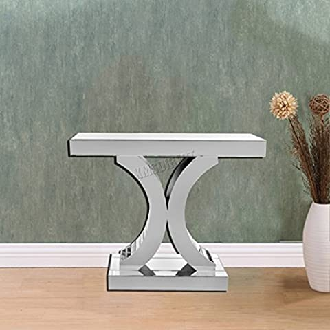 FoxHunter Mirrored Furniture Glass Table X Console Desk Bedroom Living Room Hall MT01 Silver