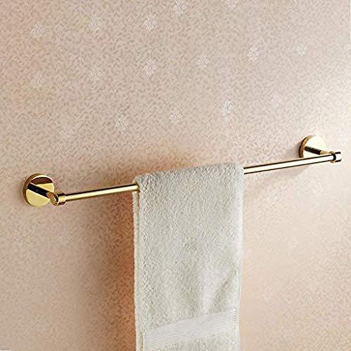 Wand Regal Metall Rod (WEIUTY Handtuchhalter Regal Metall für Rahmen Home Fashion einfache Handtuchhalter Bad Messing Wand Gold Single Rod Handtuchhalter)