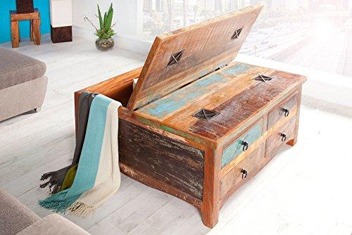 Massiver Couchtisch JAKARTA 90cm bunt Truhe aus recycelten Fischerbooten Holz -