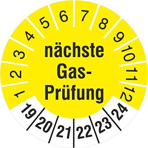 100 Stück Nächste Gasprüfung 30mm Prüfetikett Prüfplaketten Rollenware gelb 2019-24 -