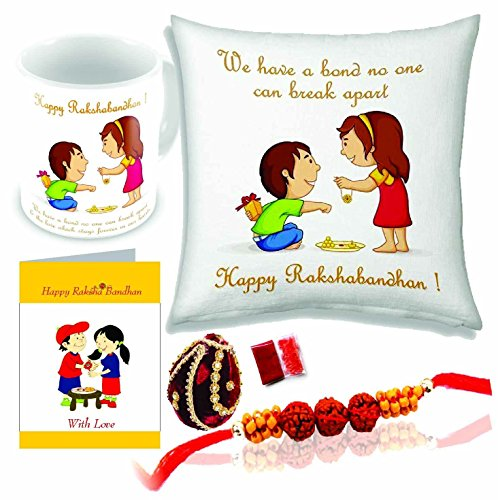 Printelligent Rakhi gift for sister and brother | Rakhi gift for brother | gift for sister | rakhi gift | rakshabandhan gift ideas online | send rakhi gifts to india | personalized gifts online | customized present | happy birthday gift for brother | birthday gift for sister | 12' x 12' cushion cover with filler + Printed coffee mug +Greeting Card + Roli Chawal + Nariyal + Rakhi