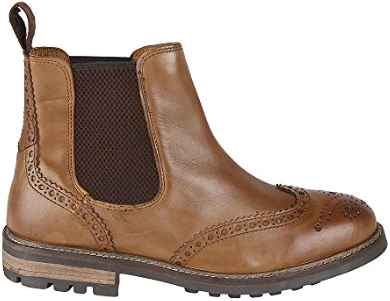 Para hombre Brogues Chelsea Botines de piel con refuerzo Casual Classic Zapatos Tallas