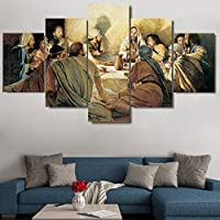 OLAJSDD 5pcs modern canvas painting Last Supper decoration canvas wall art picture for home decoration living room no frame