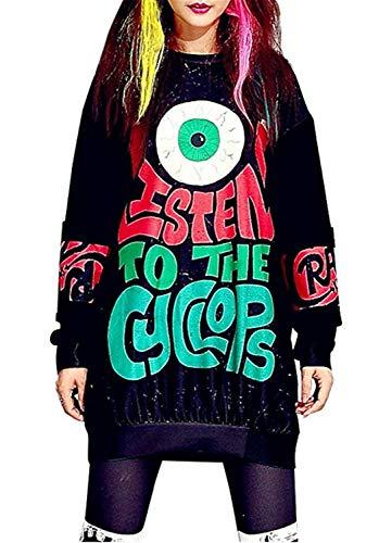 Sweatshirt Damen Mode Anime Aufdruck Streetwear Pulli Herbst Classic Rundhals Casual Winter Langarm Locker Elegante Hip Hop Style Jumper Pullover Kleider Kleidung - Kleid Hip Hop