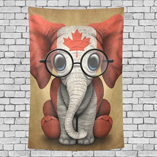 MONTOJ Baby Elefant mit Brille und Kanadische Flagge, Bettlaken, Wandkunst, Wandteppich, vertikal, Polyester, 1, 90x60(in)